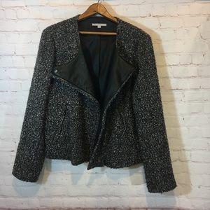 Gap boucle tweed angled zipper jacket faux leather